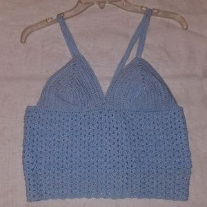 Women's hand knitted baby blue crop-top size med